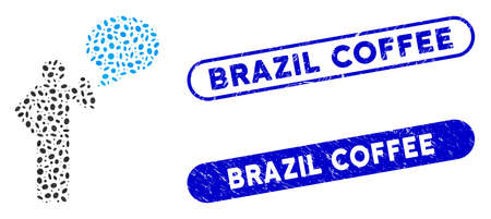 Mosaic man idea balloon and grunge stamp seals with Brazil Coffee phrase. Mosaic vector man idea balloon is designed with randomized ellipse pieces. Brazil Coffee stamp seals use blue color,