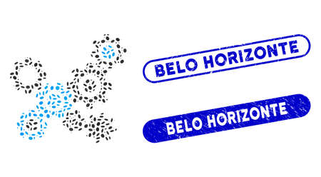 Mosaic gears mechanism and corroded stamp seals with Belo Horizonte caption. Mosaic vector gears mechanism is designed with random oval parts. Belo Horizonte stamp seals use blue color,