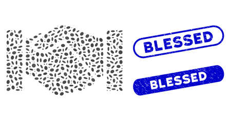 Mosaic handshake and rubber stamp seals with Blessed phrase. Mosaic vector handshake is composed with scattered oval dots. Blessed seals use blue color, and have round rectangle shape. 일러스트