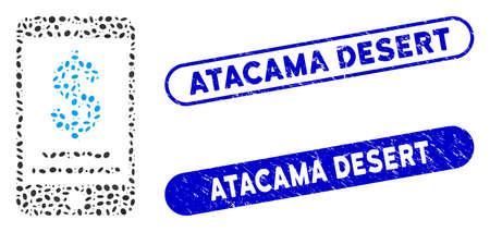 Mosaic dollar mobile wallet and grunge stamp watermarks with Atacama Desert phrase. Mosaic vector dollar mobile wallet is designed with randomized oval spots. Ilustración de vector