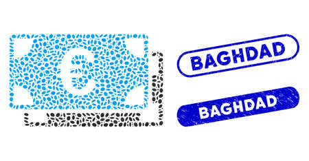 Mosaic Euro bills and rubber stamp seals with Baghdad text. Mosaic vector Euro bills is composed with random oval parts. Baghdad stamp seals use blue color, and have round rectangle shape.