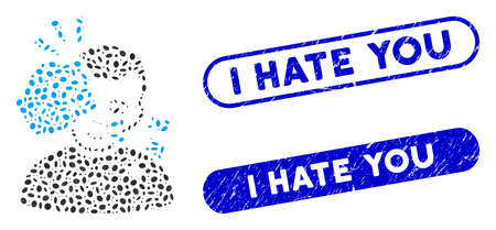 Mosaic head strike and rubber stamp seals with I Hate You caption. Mosaic vector head strike is created with random ellipse spots. I Hate You stamp seals use blue color, Illustration
