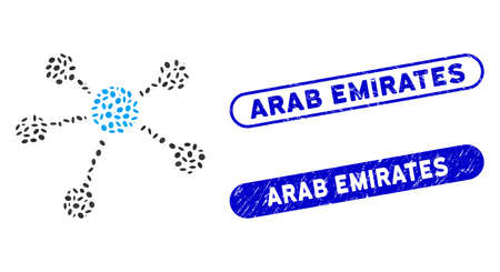 Mosaic connections and distressed stamp seals with Arab Emirates text. Mosaic vector connections is designed with random oval spots. Arab Emirates stamp seals use blue color,