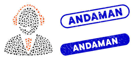 Mosaic call center worker and rubber stamp seals with Andaman phrase. Mosaic vector call center worker is composed with random ellipse elements. Andaman stamp seals use blue color,