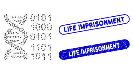 Collage genome and corroded stamp seals with Life Imprisonment text. Mosaic vector genome is designed with random oval items. Life Imprisonment stamp seals use blue color,