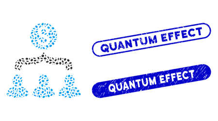 Mosaic sales funnel and distressed stamp seals with Quantum Effect text. Mosaic vector sales funnel is formed with scattered ellipse parts. Quantum Effect seals use blue color, Ilustracja