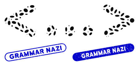 Mosaic inline code and distressed stamp seals with Grammar Nazi phrase. Mosaic vector inline code is composed with random oval pieces. Grammar Nazi stamp seals use blue color,