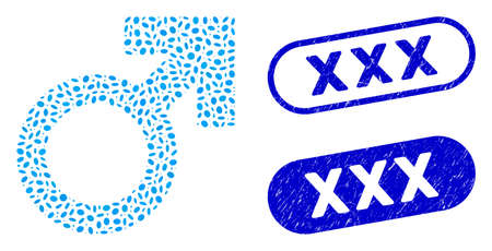 Mosaic male symbol and distressed stamp seals with XXX caption. Mosaic vector male symbol is composed with random elliptic dots. XXX stamp seals use blue color, and have round rectangle shape. Çizim