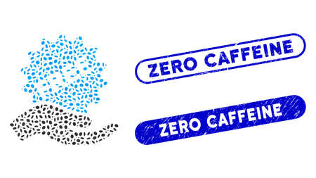 Mosaic free sticker hand and rubber stamp seals with Zero Caffeine caption. Mosaic vector free sticker hand is composed with scattered ellipse spots. Zero Caffeine seals use blue color,