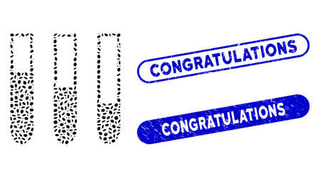 Mosaic test-tubes and rubber stamp watermarks with Congratulations text. Mosaic vector test-tubes is formed with randomized elliptic items. Congratulations stamp seals use blue color,