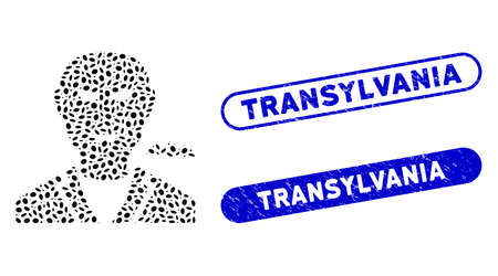 Mosaic vampire and rubber stamp seals with Transylvania text. Mosaic vector vampire is created with scattered oval spots. Transylvania stamp seals use blue color, and have round rectangle shape.