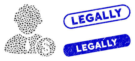 Mosaic financial judge and corroded stamp seals with Legally caption. Mosaic vector financial judge is created with scattered elliptic dots. Legally stamp seals use blue color, Ilustracja