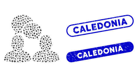 Collage people dialog and rubber stamp seals with Caledonia caption. Mosaic vector people dialog is designed with scattered elliptic spots. Caledonia stamp seals use blue color,