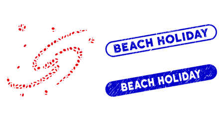 Mosaic galaxy system and distressed stamp seals with Beach Holiday caption. Mosaic vector galaxy system is formed with randomized ellipse pieces. Beach Holiday stamp seals use blue color, Çizim
