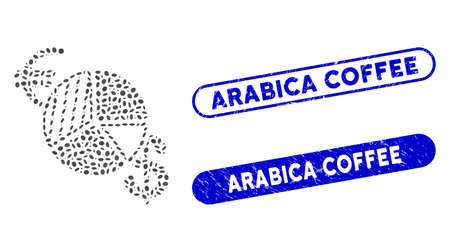 Mosaic currency pie chart and grunge stamp seals with Arabica Coffee phrase. Mosaic vector currency pie chart is formed with randomized oval spots. Arabica Coffee stamp seals use blue color,