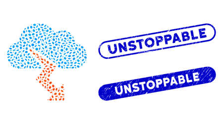 Mosaic thunderstorm and corroded stamp watermarks with Unstoppable phrase. Mosaic vector thunderstorm is designed with scattered elliptic parts. Unstoppable stamp seals use blue color,