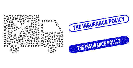 Mosaic service car and grunge stamp seals with The Insurance Policy text. Mosaic vector service car is composed with random ellipse elements. The Insurance Policy seals use blue color,
