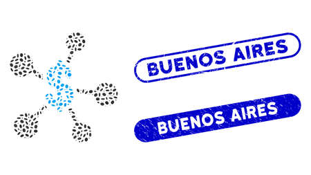 Mosaic money emission and rubber stamp watermarks with Buenos Aires text. Mosaic vector money emission is formed with randomized elliptic elements. Buenos Aires stamp seals use blue color, Ilustração