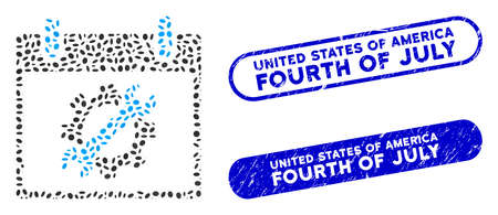 Mosaic configuration tools calendar day and rubber stamp watermarks with United States of America Fourth of July text.