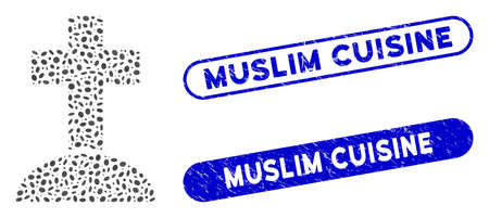 Mosaic cemetery cross and distressed stamp seals with Muslim Cuisine caption. Mosaic vector cemetery cross is formed with scattered ellipse spots. Muslim Cuisine seals use blue color,