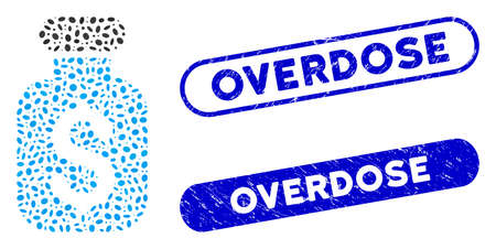 Mosaic business remedy and grunge stamp seals with Overdose phrase. Mosaic vector business remedy is created with scattered oval items. Overdose stamp seals use blue color,
