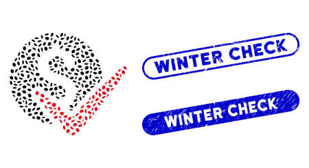 Mosaic approve payments and distressed stamp seals with Winter Check phrase. Mosaic vector approve payments is composed with scattered elliptic elements. Winter Check stamp seals use blue color, Stock Illustratie