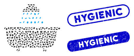 Mosaic bath shower and grunge stamp seals with Hygienic caption. Mosaic vector bath shower is formed with scattered ellipse items. Hygienic stamp seals use blue color, and have round rectangle shape.