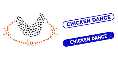 Mosaic chicken farm and rubber stamp seals with Chicken Dance phrase. Mosaic vector chicken farm is formed with scattered elliptic elements. Chicken Dance stamp seals use blue color, Çizim