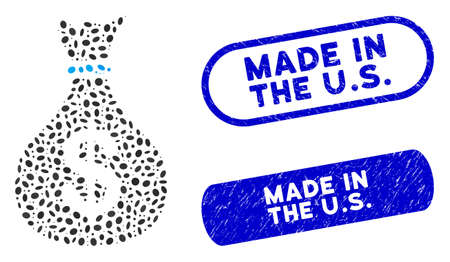 Mosaic fund and rubber stamp seals with Made in the U.S. caption. Mosaic vector fund is designed with random ellipse spots. Made in the U.S. seals use blue color, and have round rectangle shape.