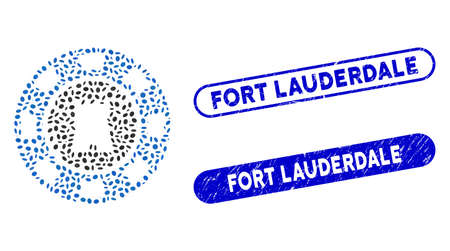 Mosaic bulwark casino chip and distressed stamp seals with Fort Lauderdale phrase. Mosaic vector bulwark casino chip is designed with scattered ellipse pieces. Fort Lauderdale seals use blue color,