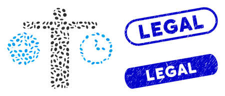 Mosaic compare time and corroded stamp seals with Legal caption. Mosaic vector compare time is created with randomized oval pieces. Legal stamp seals use blue color, and have round rectangle shape. Ilustrace
