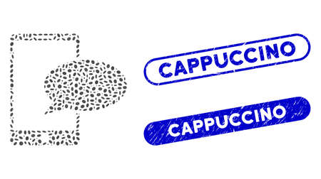 Collage phone message and rubber stamp seals with Cappuccino caption. Mosaic vector phone message is formed with scattered elliptic elements. Cappuccino stamp seals use blue color, Ilustración de vector