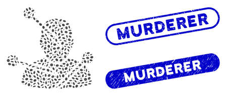 Mosaic voodoo needles and corroded stamp seals with Murderer caption. Mosaic vector voodoo needles is formed with random elliptic spots. Murderer stamp seals use blue color,