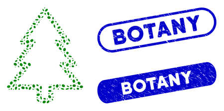 Mosaic fir-tree and distressed stamp seals with Botany text. Mosaic vector fir-tree is designed with random ellipse pieces. Botany seals use blue color, and have round rectangle shape. Ilustración de vector