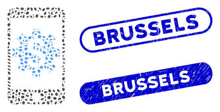 Mosaic mobile bank setup and corroded stamp seals with Brussels text. Mosaic vector mobile bank setup is created with random elliptic spots. Brussels seals use blue color,