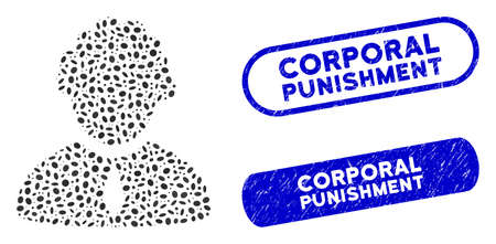 Mosaic judge profession and grunge stamp seals with Corporal Punishment caption. Mosaic vector judge profession is designed with scattered elliptic dots.