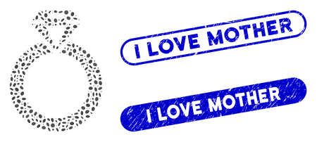 Mosaic jewelry ring and rubber stamp seals with I Love Mother phrase. Mosaic vector jewelry ring is composed with scattered ellipse spots. I Love Mother stamp seals use blue color,
