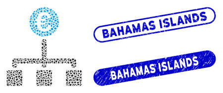 Mosaic Euro cash flow and rubber stamp seals with Bahamas Islands text. Mosaic vector Euro cash flow is formed with randomized ellipse spots. Bahamas Islands stamp seals use blue color,