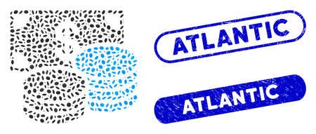 Collage dollar cash and corroded stamp seals with Atlantic phrase. Mosaic vector dollar cash is formed with randomized ellipse dots. Atlantic stamp seals use blue color, Ilustracja