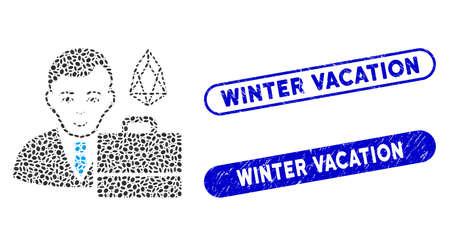Collage eos accounter and corroded stamp seals with Winter Vacation caption. Mosaic vector eos accounter is designed with random oval pieces. Winter Vacation stamp seals use blue color,