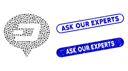 Mosaic Dash hint balloon and grunge stamp seals with Ask Our Experts caption. Mosaic vector Dash hint balloon is created with randomized elliptic parts. Ask Our Experts seals use blue color, Ilustrace