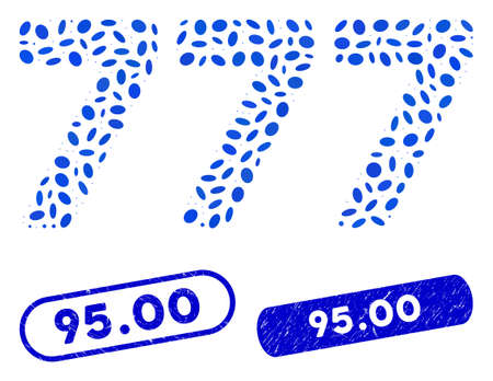 Mosaic 777 digits text and distressed stamp seals with 95.00 phrase. Mosaic vector 777 digits text is composed with scattered ellipse dots. 95.00 stamp seals use blue color, Иллюстрация