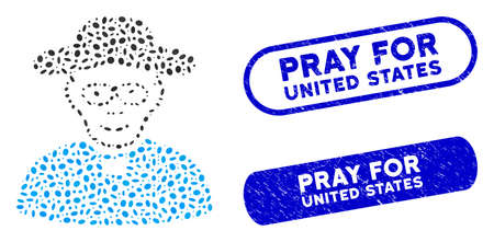 Mosaic church shepherd and grunge stamp seals with Pray for United States text. Mosaic vector church shepherd is formed with scattered ellipse items. Pray for United States stamp seals use blue color, Ilustracja