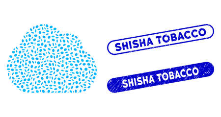 Mosaic cloud and corroded stamp seals with Shisha Tobacco text. Mosaic vector cloud is formed with scattered oval items. Shisha Tobacco stamp seals use blue color, and have round rectangle shape.