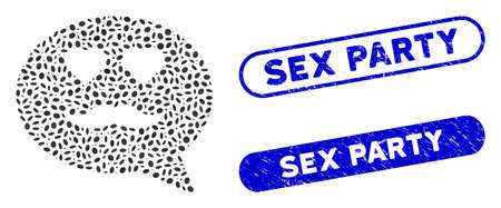 Mosaic lover smiley message and grunge stamp seals with Sex Party phrase. Mosaic vector lover smiley message is created with scattered ellipse items. Sex Party seals use blue color,