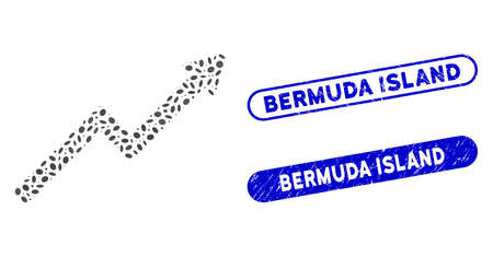 Mosaic growth trend chart and corroded stamp seals with Bermuda Island phrase. Mosaic vector growth trend chart is created with scattered oval dots. Bermuda Island stamp seals use blue color,