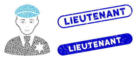 Collage sheriff and rubber stamp seals with Lieutenant caption. Mosaic vector sheriff is designed with scattered ellipse items. Lieutenant stamp seals use blue color, and have round rectangle shape.