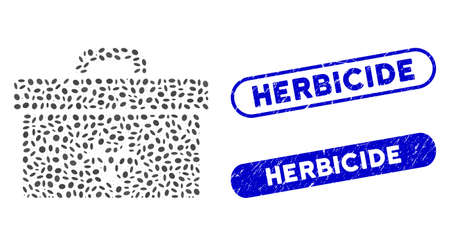 Mosaic biohazard toolbox and rubber stamp seals with Herbicide phrase. Mosaic vector biohazard toolbox is formed with random oval spots. Herbicide stamp seals use blue color, Ilustrace