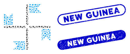 Mosaic flags and distressed stamp seals with New Guinea phrase. Mosaic vector flags is designed with randomized ellipse elements. New Guinea stamp seals use blue color, and have round rectangle shape.