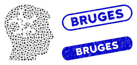 Mosaic mind gears and corroded stamp seals with Bruges caption. Mosaic vector mind gears is composed with randomized elliptic elements. Bruges seals use blue color, and have round rectangle shape. Ilustración de vector